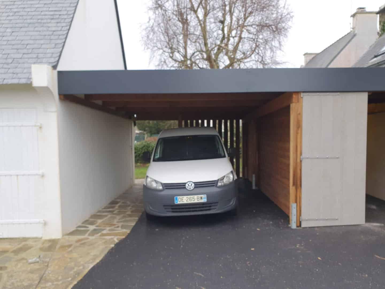 Carport abri voiture, bois aluminiumalu, Finistère Morbihan
